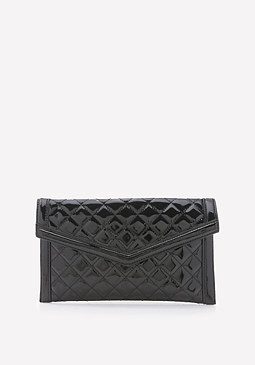 bebe Quilted Patent Clutch