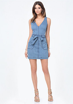 bebe Denim Deep V Dress