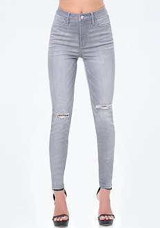 Grey High Rise Skinny Jeans