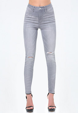 bebe Grey High Rise Skinny Jeans