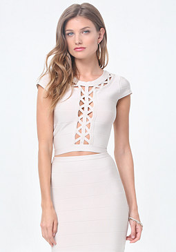 bebe Cutout Bandage Top