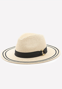 bebe Striped Edge Panama Hat