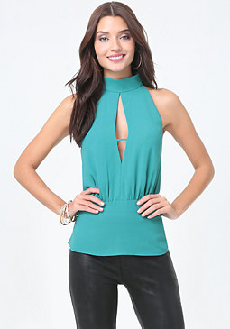bebe Carver Mock Neck Peplum Top