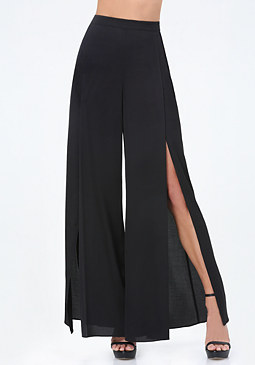 bebe Hammered Satin Slit Pants