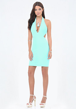 bebe Cutout Deep V Dress