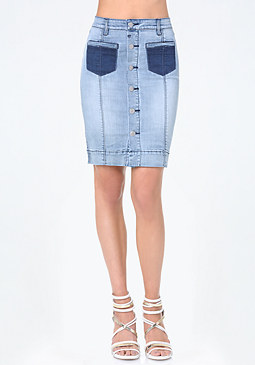 bebe Denim Contrast Pocket Skirt