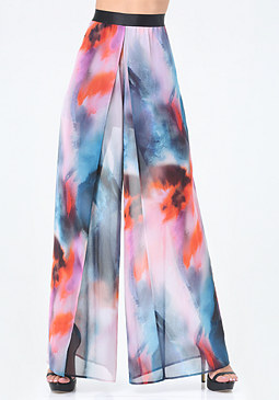 bebe Print Slit Wide Leg Pants