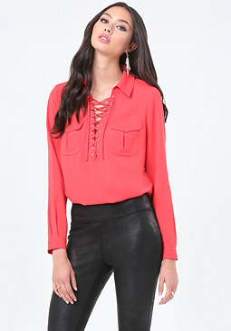 bebe Lace Up Long Sleeve Top
