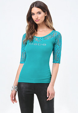 bebe Logo Lace Yoke Top