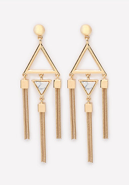 bebe Snake Chain Geo Earrings