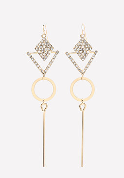 bebe Pave Geo Statement Earrings