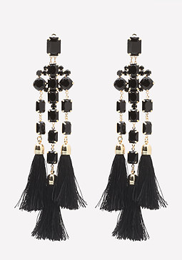 bebe Faux Onyx Fringe Earrings