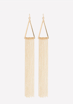 bebe Chain Fringe Long Earrings