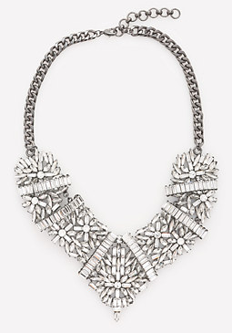 bebe Crystal Floret Bib Necklace