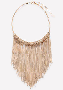 bebe Chain Fringe Short Necklace