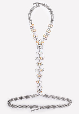 bebe Faux Opal Body Chain