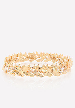 bebe Goldtone Leaf Crown