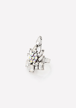bebe Edgy Crystal Cocktail Ring