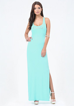 bebe Logo Crisscross Maxi Dress
