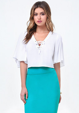 bebe Flutter Sleeve Lace Up Top
