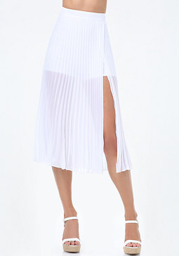 bebe Pleated Slit Midi Skirt