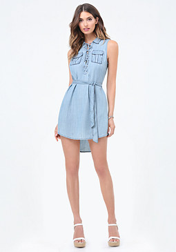 bebe Light Denim Lace Up Dress