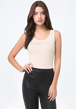 bebe Logo Lace Up Bodysuit