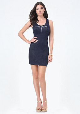 bebe Logo Half Zip Mini Dress