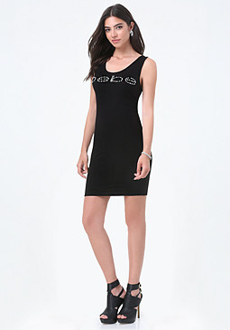 bebe Fancy Logo Tank Mini Dress