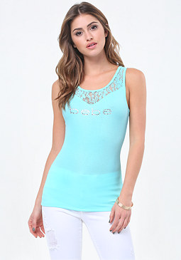 bebe Logo Lace Yoke Tank Top