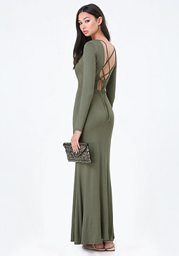 bebe Back Lace Up Maxi Dress