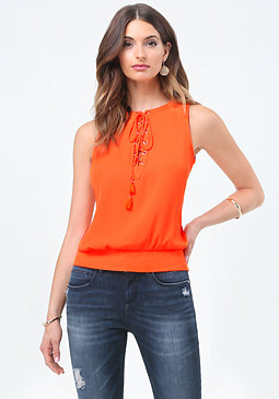 bebe Tassel Tie Lace Up Top