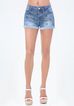 bebe Star Print Denim Shorts