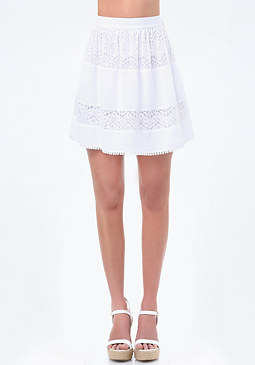 bebe Lace Panel Gathered Skirt