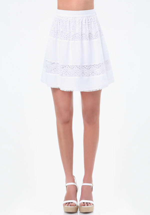Lace Panel Gathered Skirt