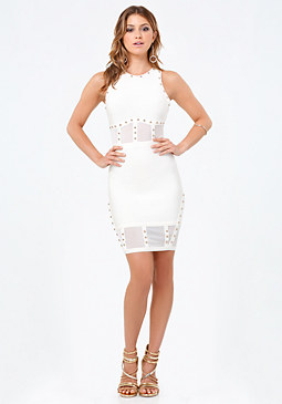 bebe Gwen Studded Corset Dress