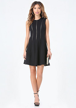 bebe Mesh Striped Flared Dress