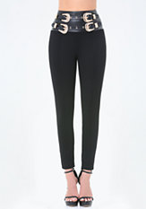 bebe High Double Belt Leggings