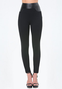 bebe Faux Leather Waist Leggings