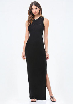 bebe Mock Lace Up Maxi Dress
