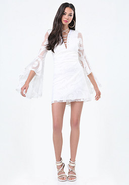 bebe Bell Sleeve Lace Up Dress