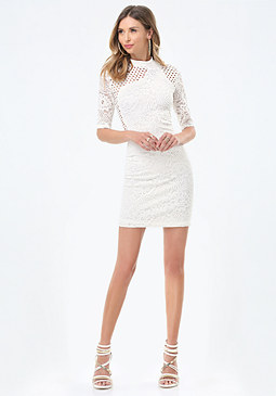 bebe Lucie Mix Lace Dress
