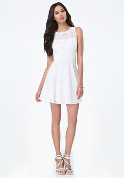bebe Mia Lace Fit & Flare Dress