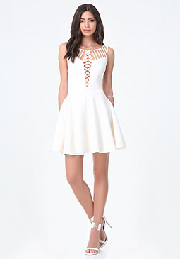 bebe Strappy Fit & Flare Dress