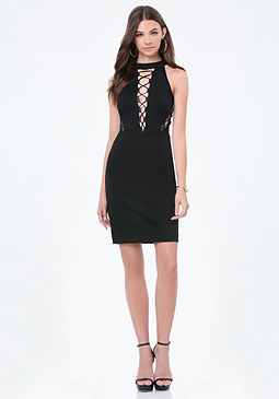 bebe Lori Ponte Lace Up Dress