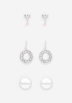 bebe Logo Earring Set