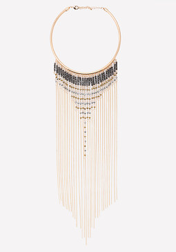 bebe Seed Bead Fringe Necklace