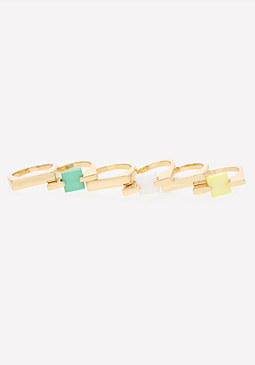 bebe Square Stone Ring Set