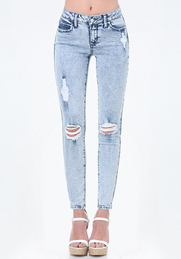 bebe Ripped Skinny Ankle Jeans