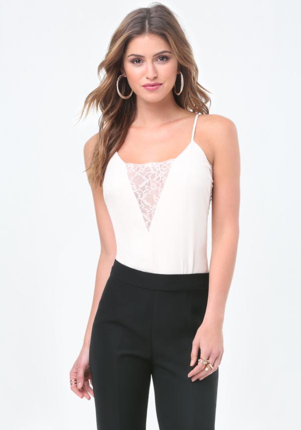 Lace Inset Plunge Bodysuit